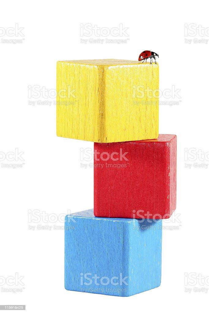 Ladybug on cube tower 01 royalty-free stock photo