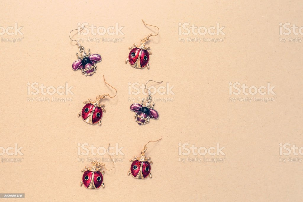 Ladybugs and bees earrings stock photo