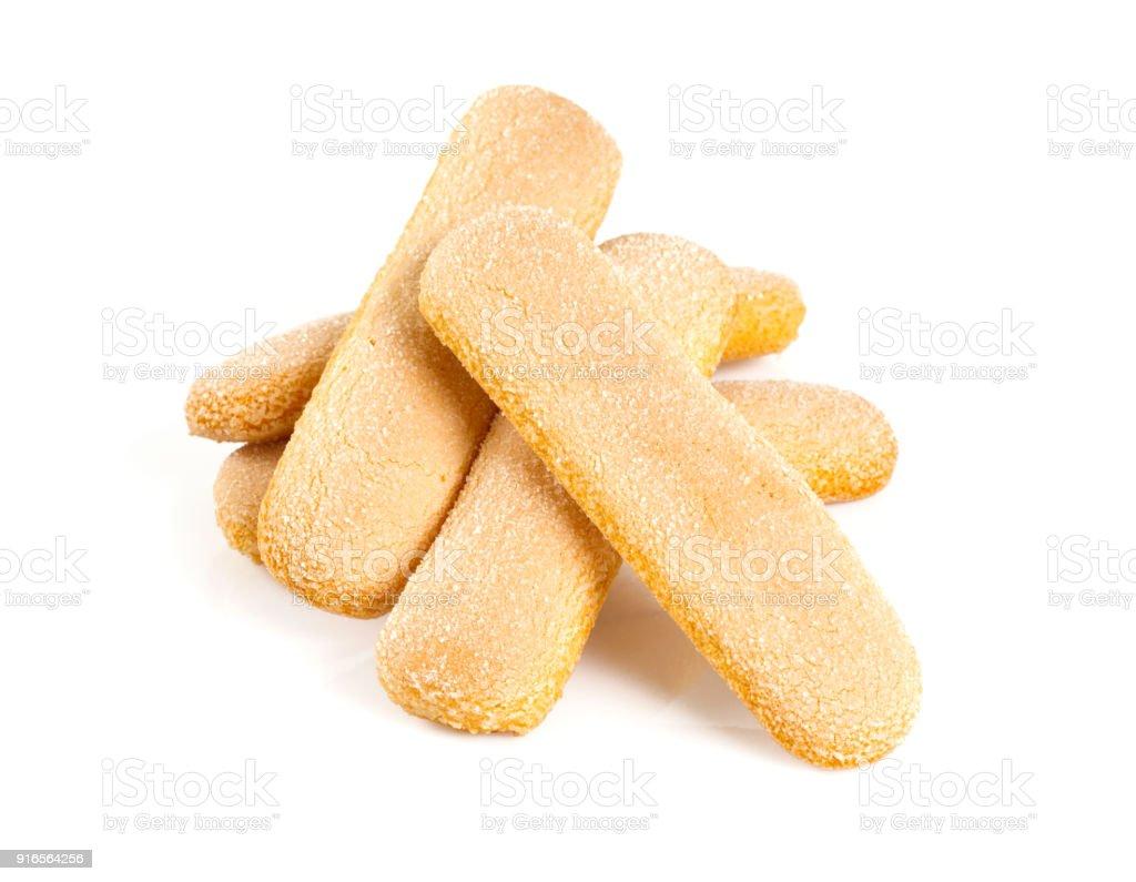 Löffelbiskuits Cookies isoliert auf weiss – Foto