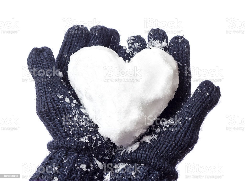 Lady's glove and snow heart royalty-free stock photo