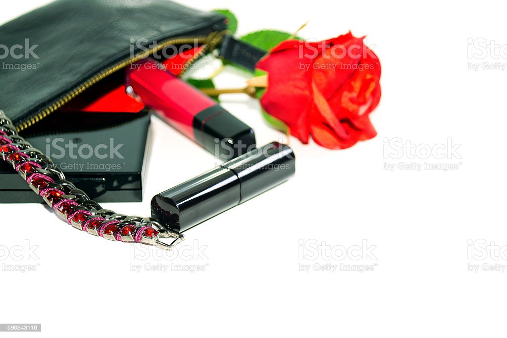 Lady's goods: make up bag, cosmetics and fashion jewerly royalty-free stock photo