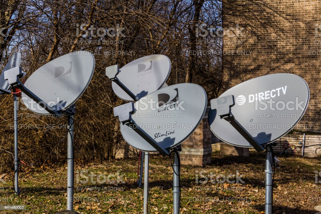 Lafayette - Circa February 2017: Several DirecTV Satellite Dishes. DIrecTV is part of AT&T I stock photo