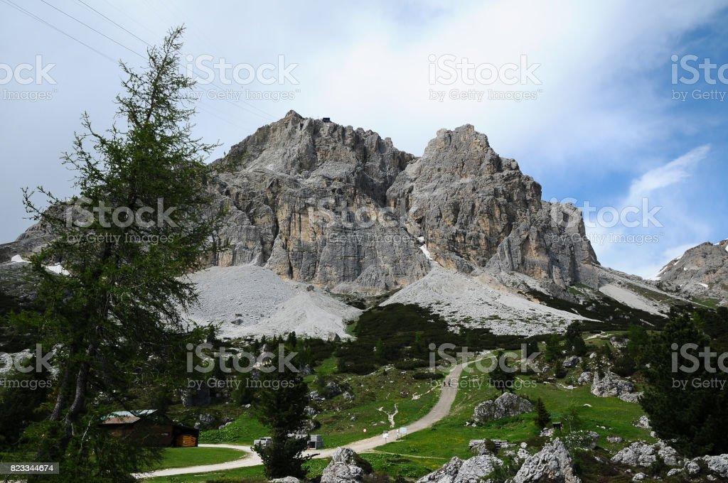 Lagazuoi at Passo Falzarego, Dolomites. Italy. - foto stock