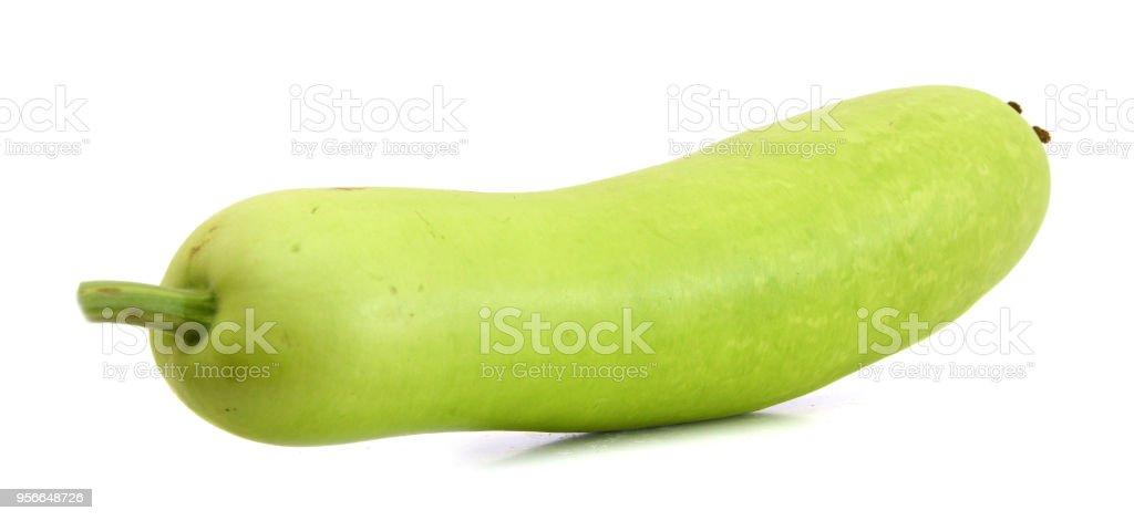 Lagenaria vulgaris fruit isolated on white background stock photo