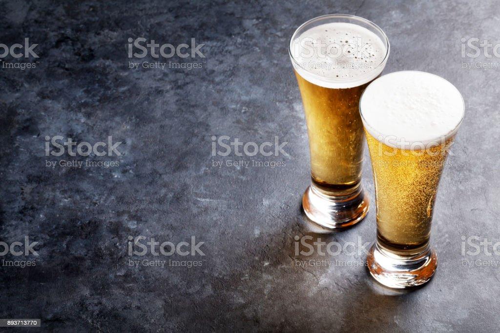 Lager beer glasses stock photo