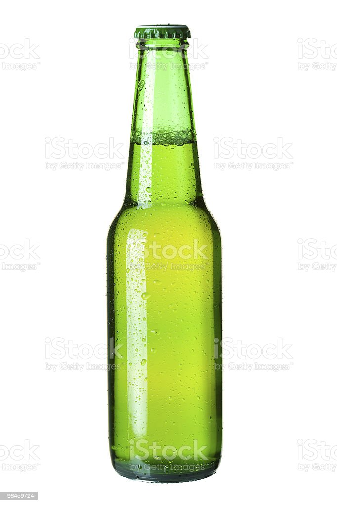 Lager beer in green bottle royalty-free stock photo