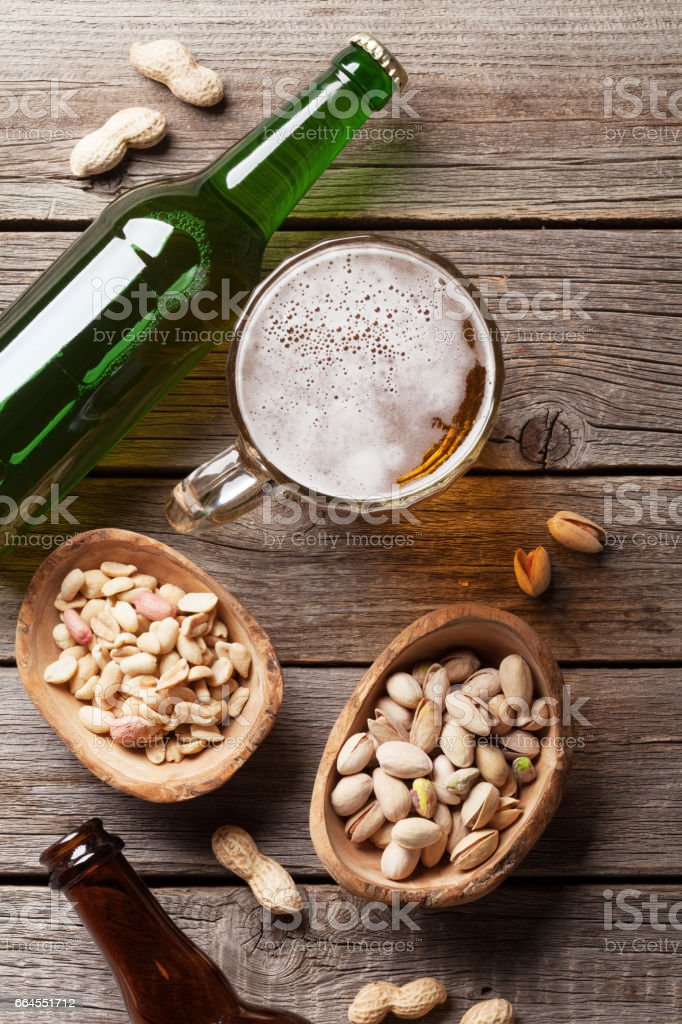 Lager beer mug and snacks royalty-free stock photo