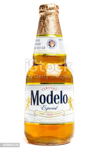 Miami, FL, USA- May 5, 2014: Modelo Especial Lager Beer bottle of 12 fl ozs on white background Brewed in Mexico and distributed worldwide. Excellent lager.