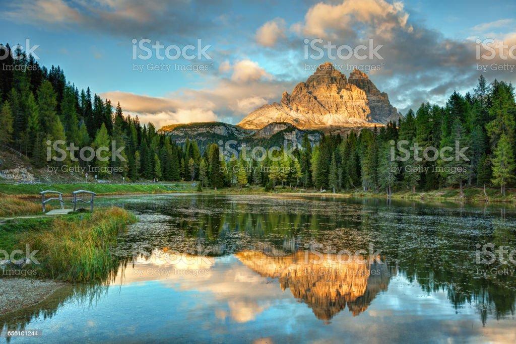 Lago Antorno, Dolomites stock photo