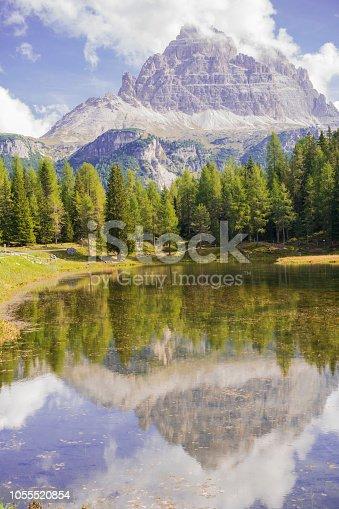 istock Lago Antorno the Mountain lake in Dolomites, Italy 1055520854