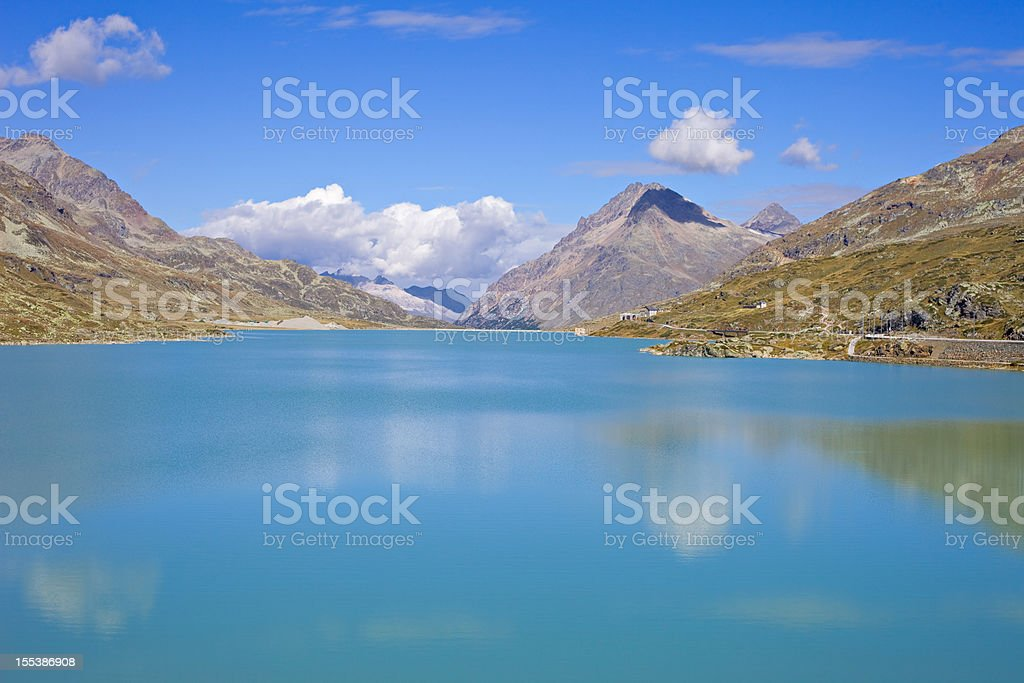 Lago Bianco and Bernina Pass in the Swiss Alps Switzerland stock photo