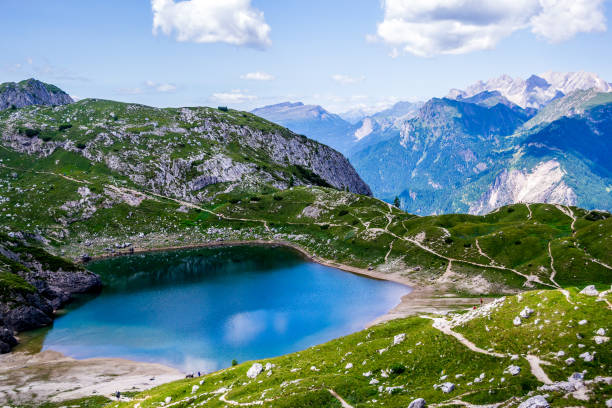 Lago Coldai - Dolomites - Italy stock photo