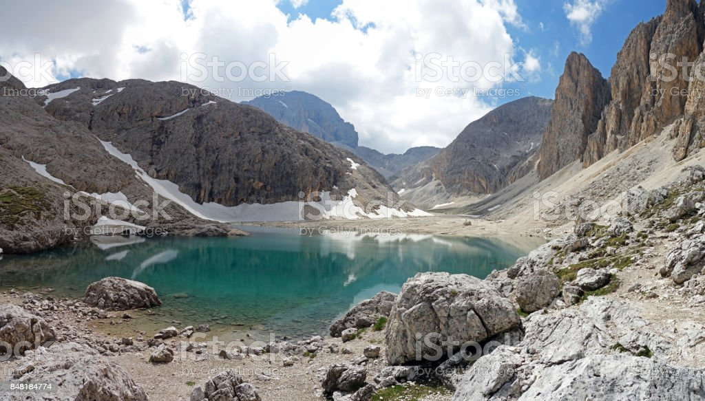 Lago d'Antermoia, South Tyrol, Italy stock photo