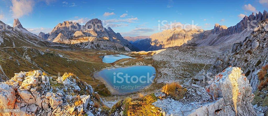 Lago dei Piani - Mountain Italy Dolomiti panorama stock photo
