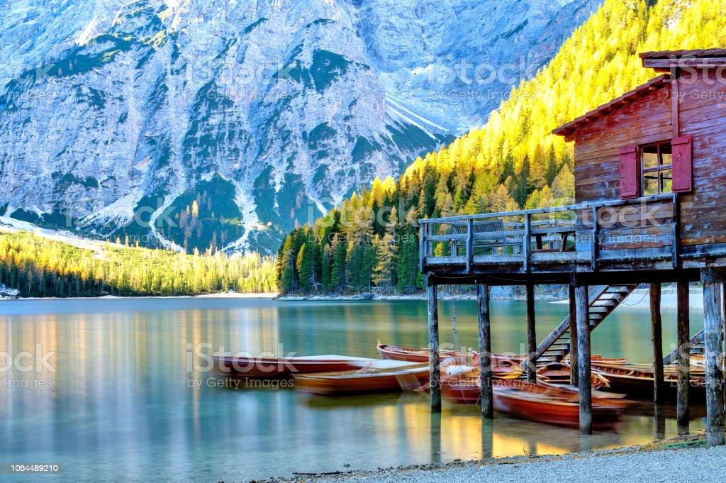 Lago di Braies royalty-free stock photo