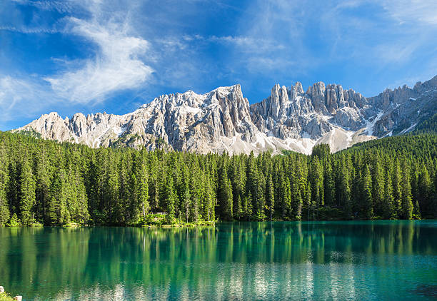 Lago di Carezza- Karersee, Trentino-Alto Adige, Italy Lago di Carezza- Karersee,near Bolzano, Trentino-Alto Adige, Italy dolomites stock pictures, royalty-free photos & images