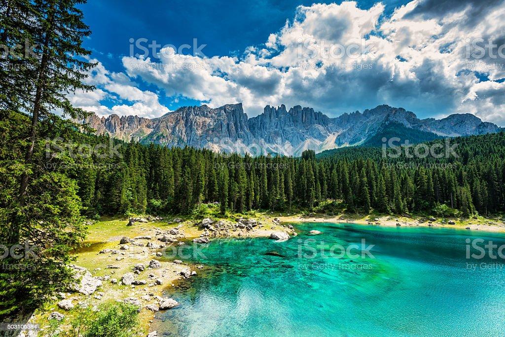 Lago di Carezza- Karersee, Trentino-Alto Adige, Italy stock photo