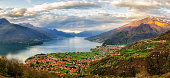 Lago di Como (Lake Como) high definition panorama from Peglio at sunrise
