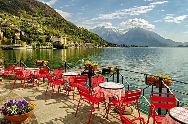 lago di como (northern italy) scenic view - como italië stockfoto's en -beelden