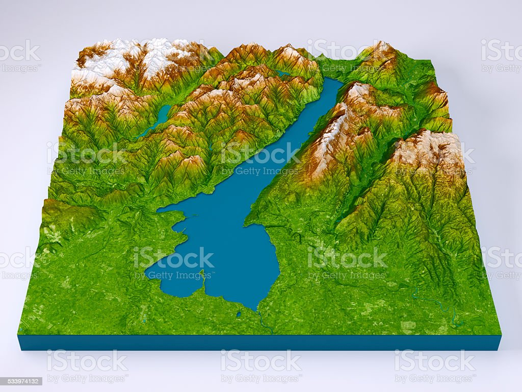 Cartina Topografica Lago Di Garda.Lago Di Garda Modelli 3d Colore Frontale Con Mappa Topografica Fotografie Stock E Altre Immagini Di Acqua Istock