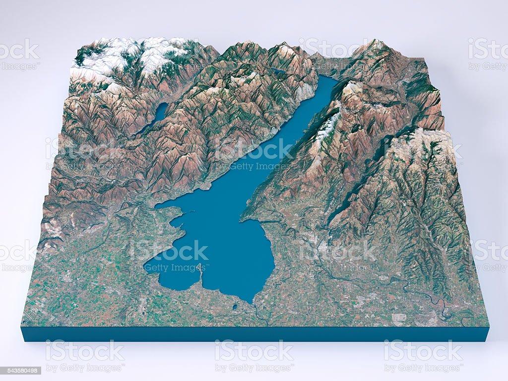 Cartina Topografica Lago Di Garda.Lago Di Garda Modelli 3d Colore Naturale Frontale Con Mappa Topografica Fotografie Stock E Altre Immagini Di Acqua Istock
