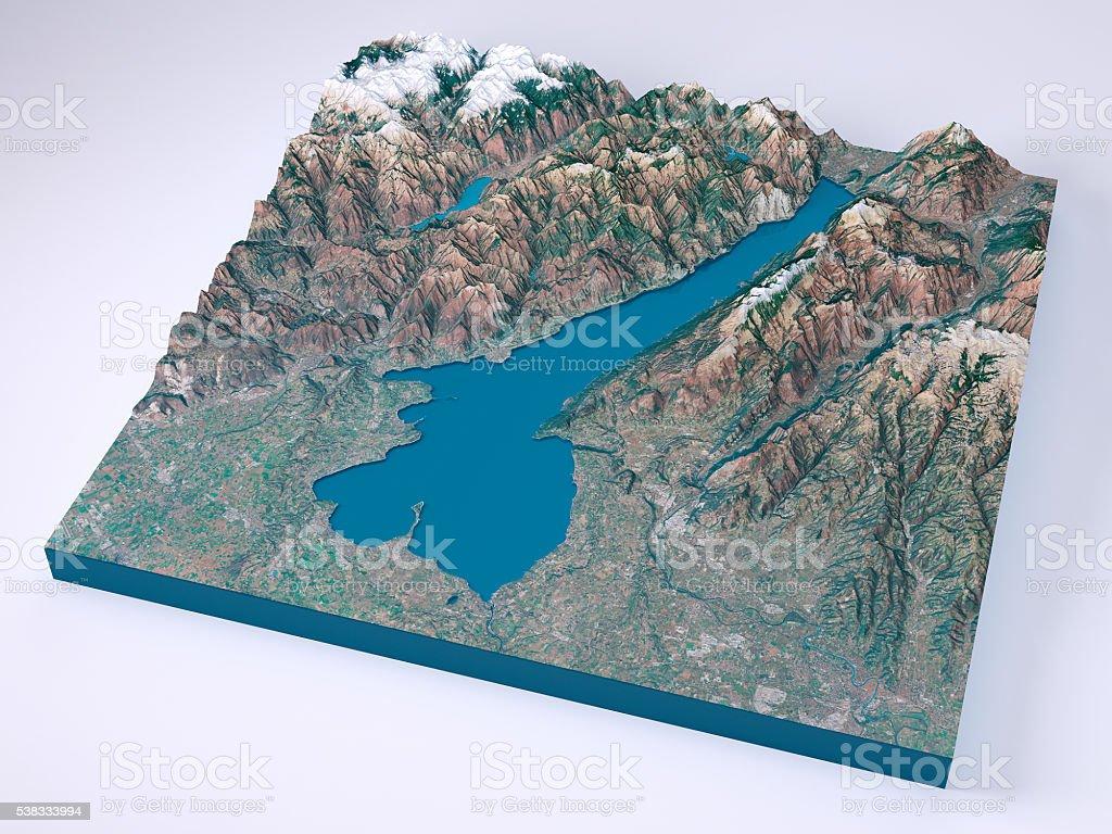 Cartina Topografica Lago Di Garda.Lago Di Garda Modelli 3d Con Mappa Topografica Colori Naturali Fotografie Stock E Altre Immagini Di Acqua Istock