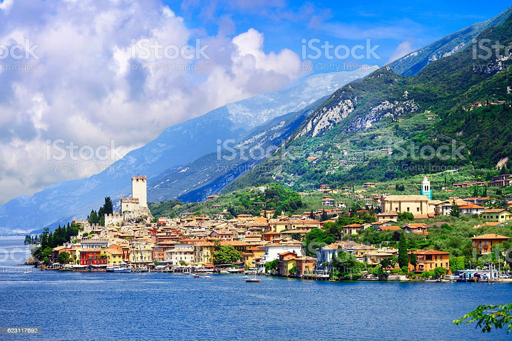lago di Garda, pictorial Malcesine town. Italy stock photo
