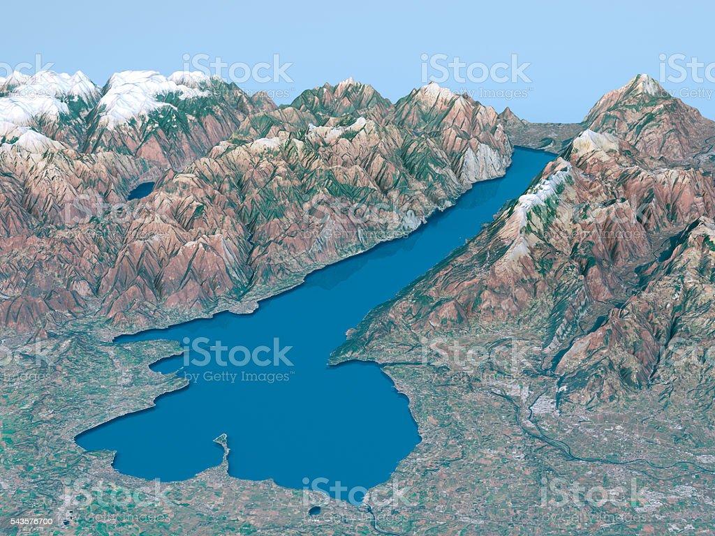 Cartina Topografica Lago Di Garda.Lago Di Garda Con Mappa Topografica 3d Paesaggio Vista Colori Naturali Fotografie Stock E Altre Immagini Di Acqua Istock
