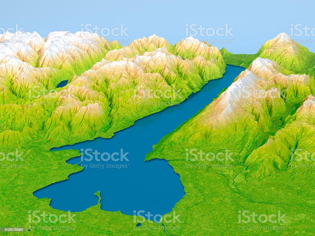 Cartina Topografica Lago Di Garda.Lago Di Garda Con Mappa Topografica 3d Vista Panoramica Sollievo Colore Fotografie Stock E Altre Immagini Di Acqua Istock