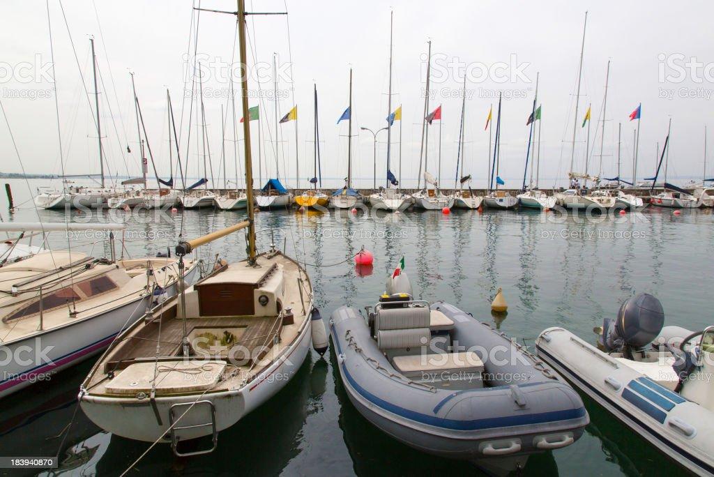 Lago di Garda with sailing boats stock photo