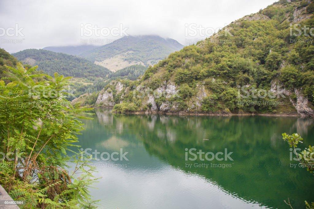 Lago di San Domenico in the municipality of Villalago stock photo