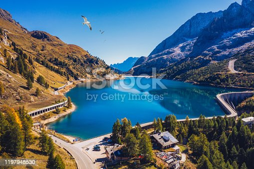 Lago Fedaia (Fedaia Lake), Fassa Valley, Trentino Alto Adige, an artificial lake and a dam near Canazei city, located at the foot of Marmolada massif. Fedaia Lake is the Province of Belluno, Italy.