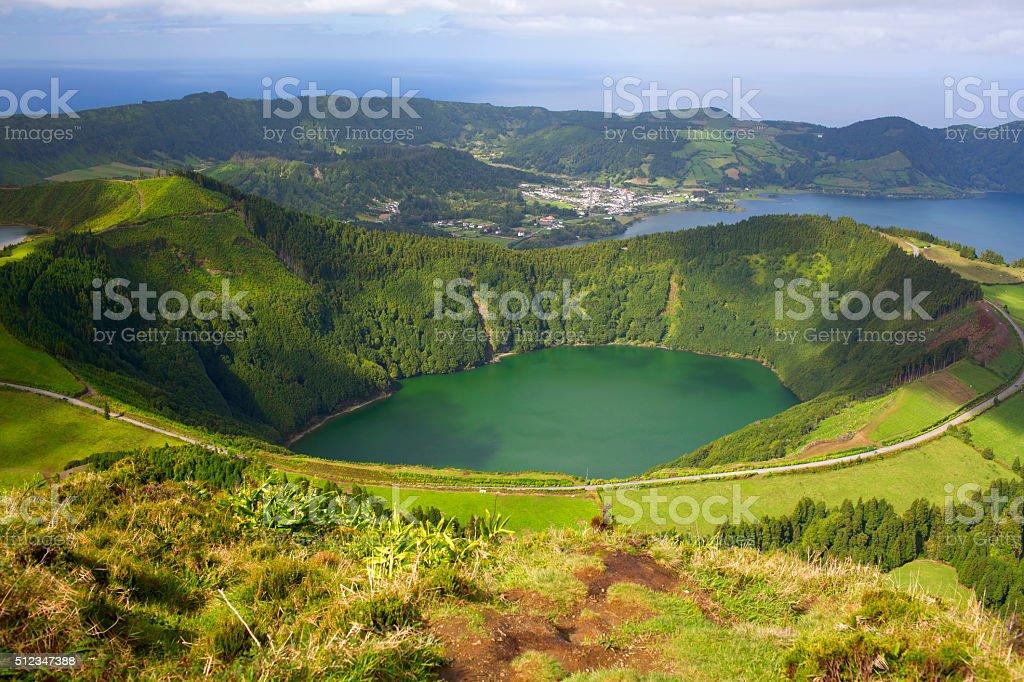 Lagoa de Santiago and Lagoa Azul stock photo