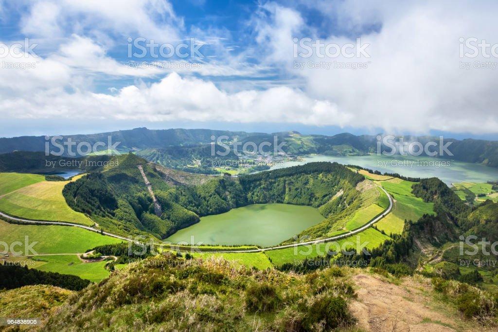Lagoa de Santiago, Sete Cidades volcano complex, Sao Miguel island, Azores royalty-free stock photo