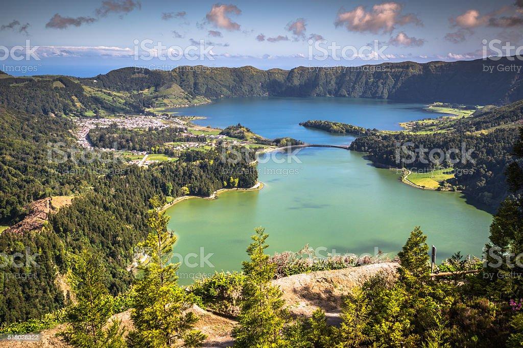 Lagoa Sete Cidades on Azores island stock photo