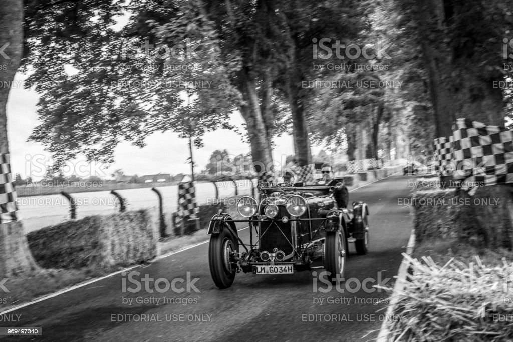 Lagonda M45 LeMans Team Car 1934 classic race car. The car is doing a...