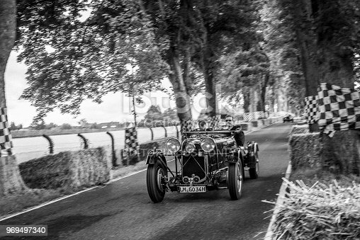 Lagonda M45 LeMans Team Car 1934 classic race car. The car is doing a demonstration drive during the 2017 Classic Days event at Schloss Dyck.