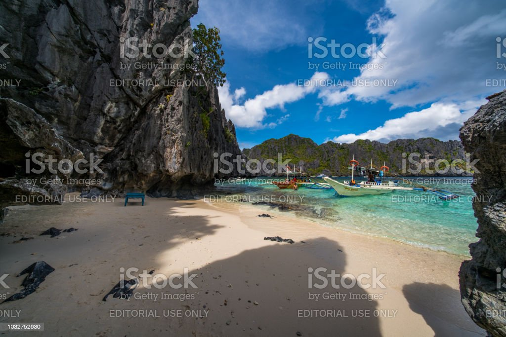Lagoon And A Cave In El Nido Palawan Philippines Stock Photo