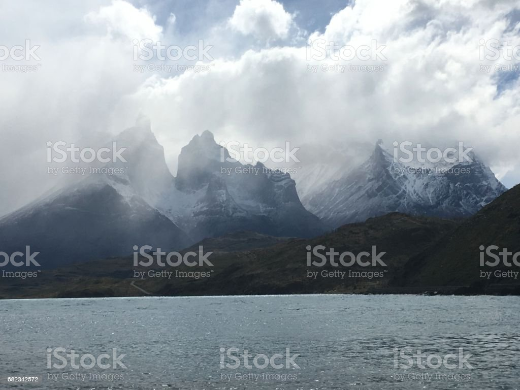 Lagoon and rivers at Torres Del Paine in Patagonia, Chile royalty free stockfoto