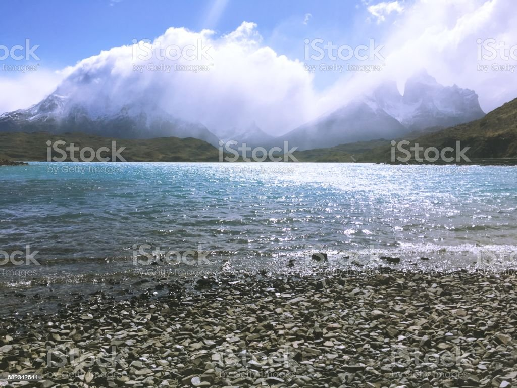 Lagoon and rivers at Torres Del Paine in Patagonia, Chile foto stock royalty-free