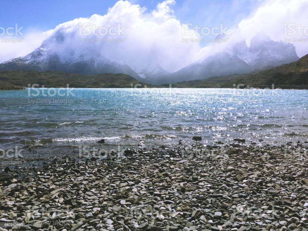 Lagoon and rivers at Torres Del Paine in Patagonia, Chile royaltyfri bildbanksbilder