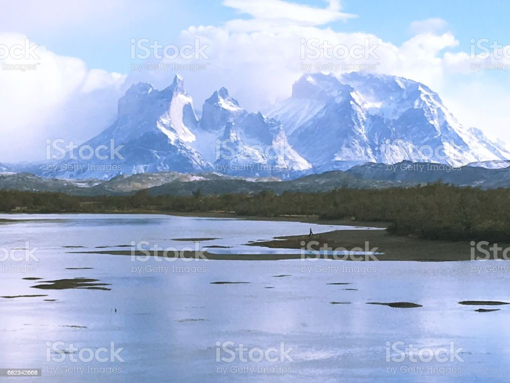 Lagoon and rivers at Torres Del Paine in Patagonia, Chile royaltyfri bildbanksbilder