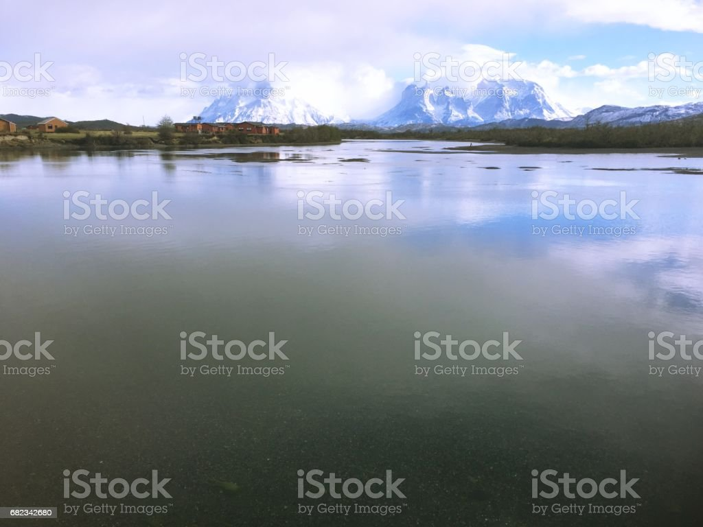 Lagoon and rivers at Torres Del Paine in Patagonia, Chile ロイヤリティフリーストックフォト