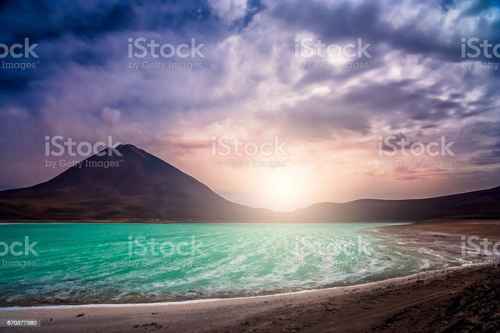 Lagoon and volcano stock photo