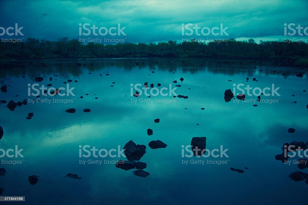 Lagoon at dusk on Santa Cruz Island, Galapagos royalty-free stock photo