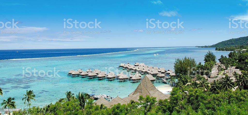Lagoon Bungalow Rentals Moorea royalty-free stock photo