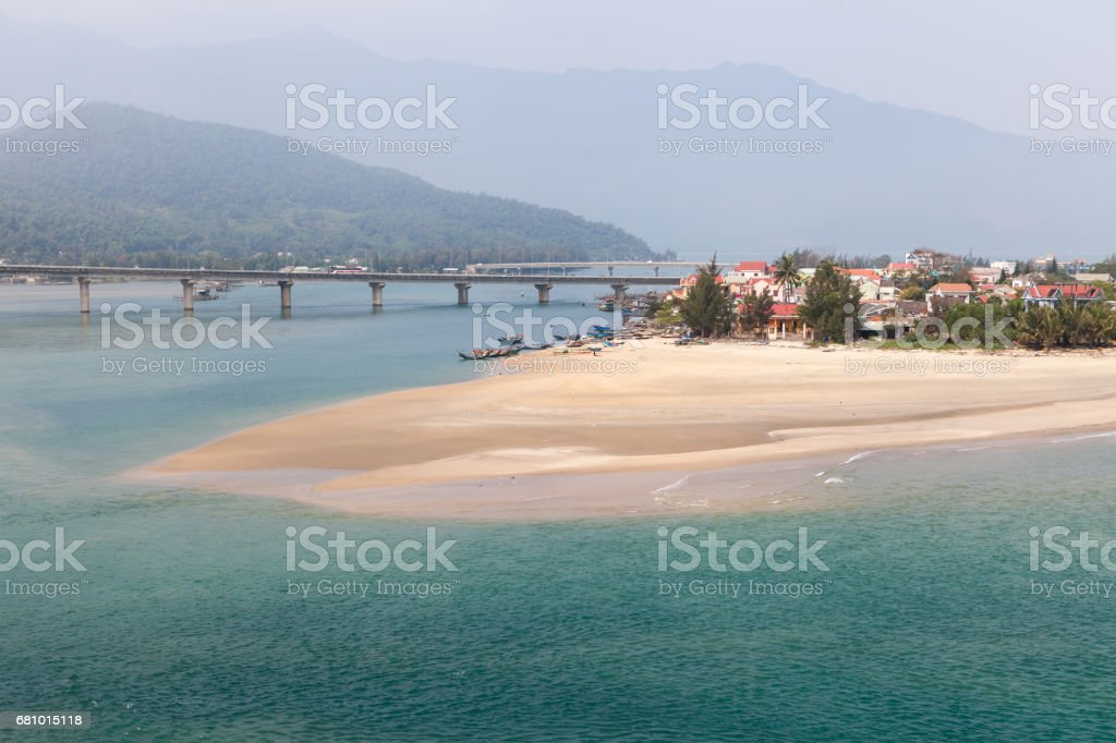 Lagoon Cau Hai. View from one of most beautiful railway route from Hue to Da Nang stock photo