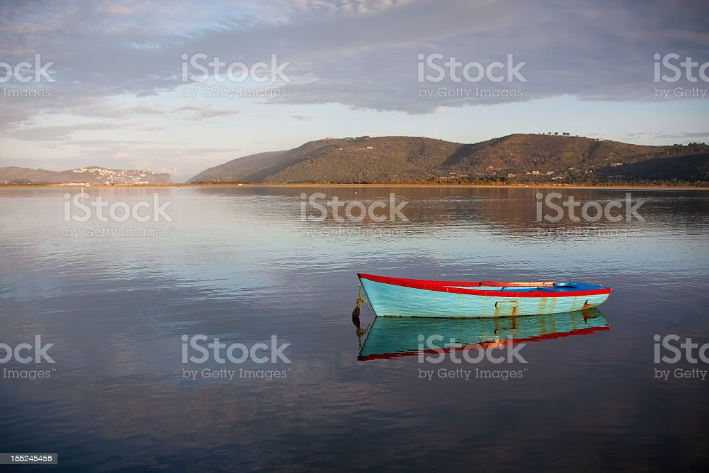 lagoon fishing boat royalty-free stock photo