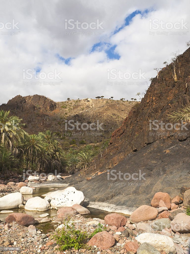 Lagoon in canyon of Socotra royalty-free stock photo