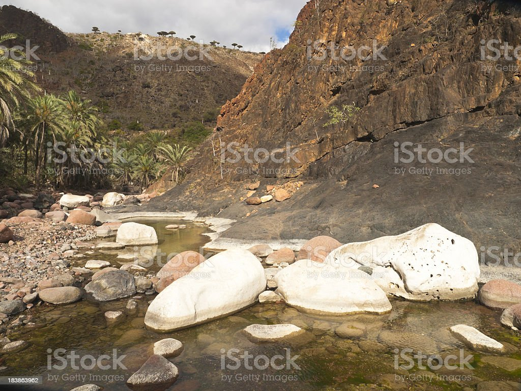 Lagoon in canyon of Socotra stock photo